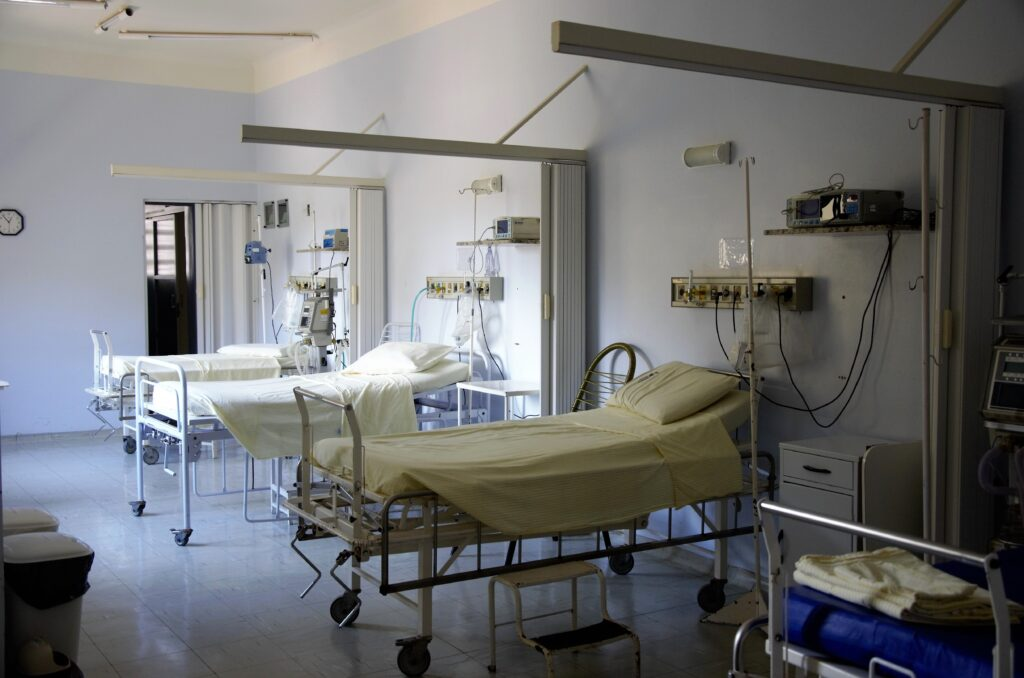 An image of hospital beds